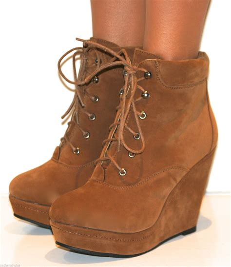 Wedges Lk 19 womens suede wedge high heel platform lace up shoes ankle