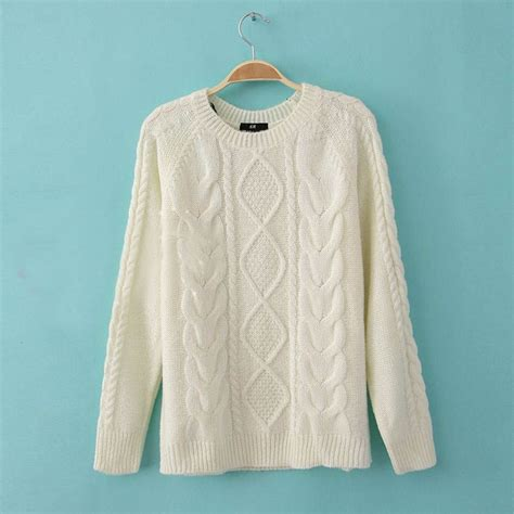 fashion vintage cable knit sweaters pullover jumper