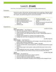 Resume Exle For Server by Fast Food Server Resume Sle My Resume
