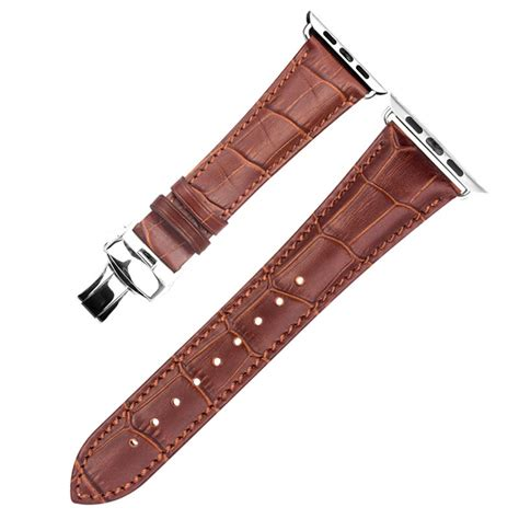 Wristband Lining apple qialino leather wristband 42mm brown