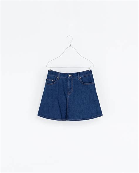 zara denim skater skirt in blue lyst
