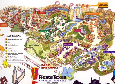 six flags texas park map theme park brochures six flags fiestatexas theme park brochures