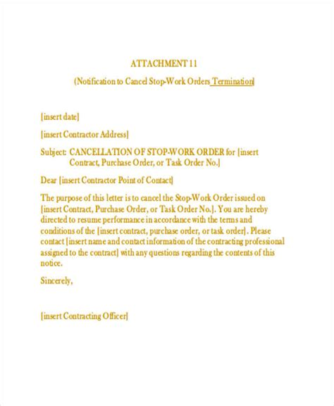 work order cancellation letter sle letter format for cancellation of work order 28 images
