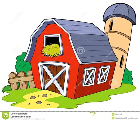Ranch Farmhouse Plans by Cartoon Red Barn Royalty Free Stock Image Image 15651646