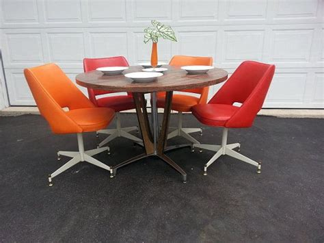 Mid Century Dinette Set Retro Dining Table And Chairs Kitchen Table With Swivel Chairs