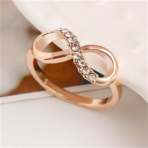 cheap gold infinity ring with bling bling czs
