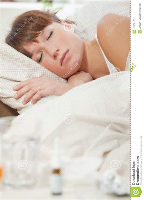 sick in bed images sick woman sleeping stock photo image 17008170