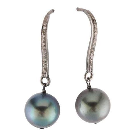 black pearl silver drop earrings for sale at 1stdibs