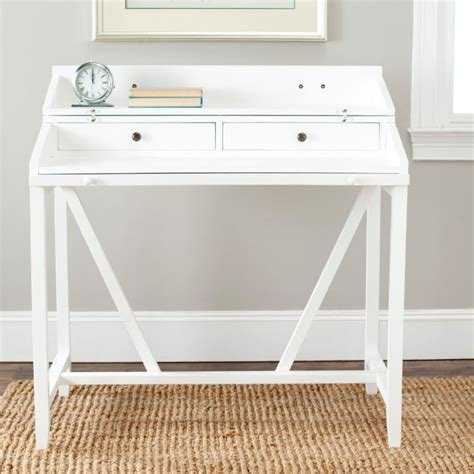 Furniture White Small Writing Desk With Two Drawers And Small White Desk Uk
