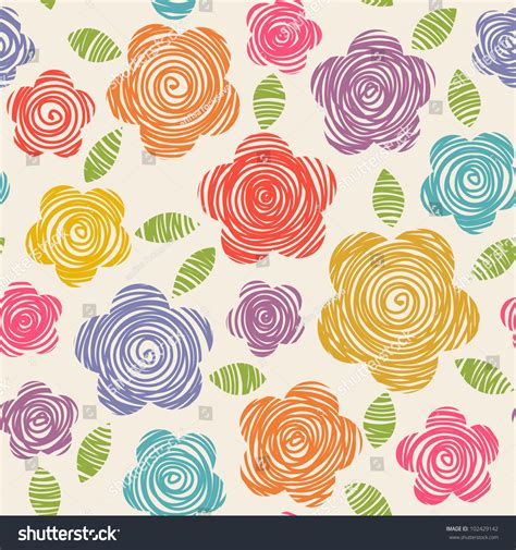 vector seamless pattern flowers doodles made stock vector