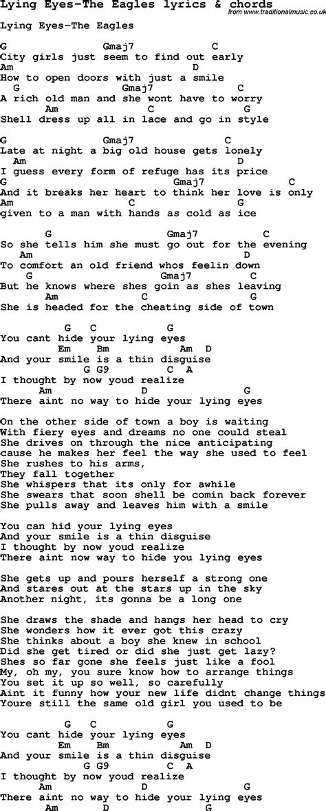 printable lyrics to love shack love song lyrics for lying eyes the eagles with chords
