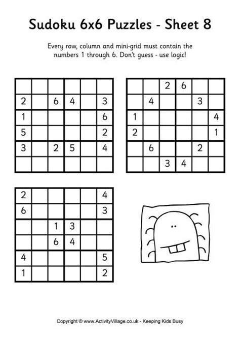 printable chain sudoku puzzles sudoku 6x6 puzzle 8 school math pinterest puzzles