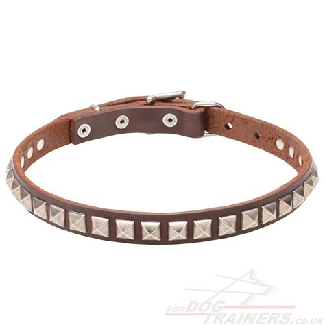 Handcrafted Collars - pretty collar with square studs handmade collars 163