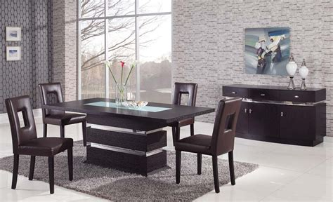 Contemporary Dining Table Set Sophisticated Rectangular Wood And Frosted Glass Top Leather Modern Dining Set Oceanside