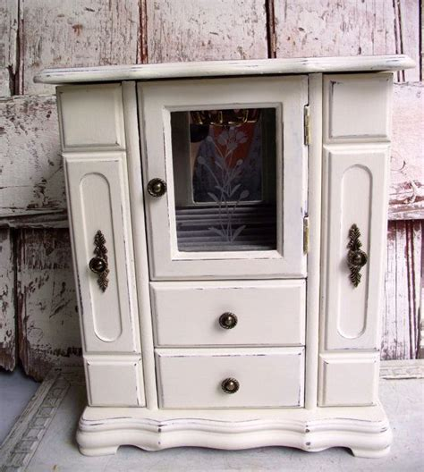 jewlry armoire vintage jewerly chest or box old white hand painted and