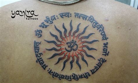 yantra tattoo gayathri mantra with sun om