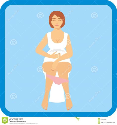 bathroom problems while pregnant woman is sitting on the toilet stock vector