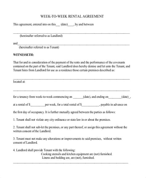 Weekly Rental Agreement Template by Weekly Rental Agreement Hunecompany