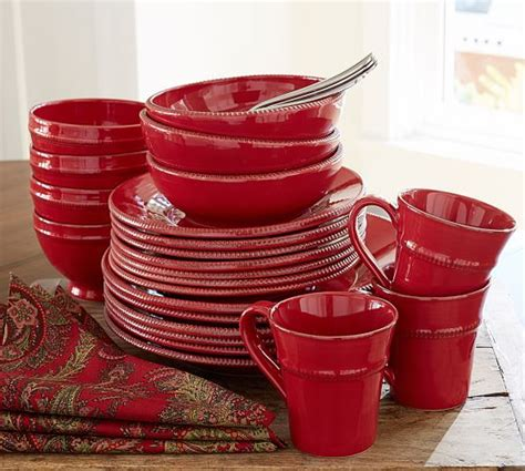 pottery barn china gabriella dinnerware red pottery barn