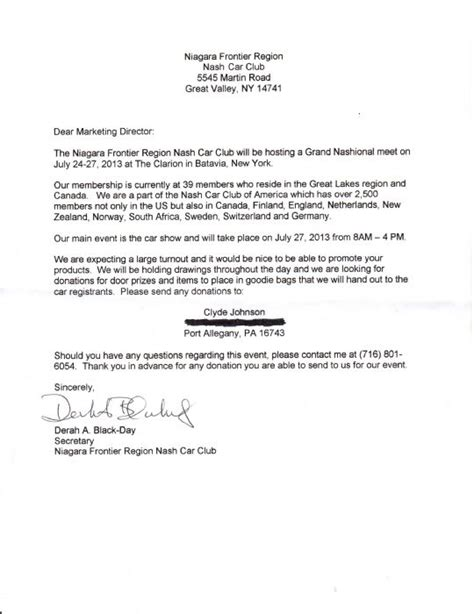 Thank You Letter For Door Prize Donation 2013 Nash Grand National Batavia Ny The Amc Forum Page 1
