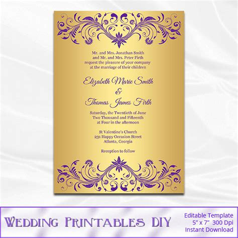 gold wedding cards templates purple and gold wedding invitation template diy gold foil