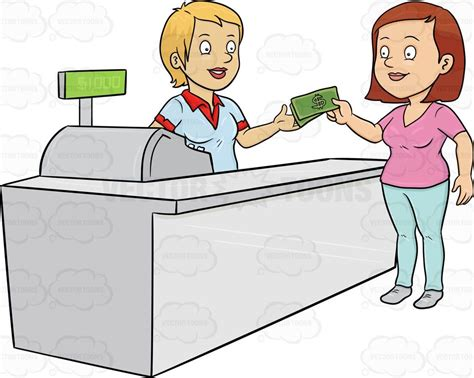 buy clipart a paying the cashier one thousand dollars vector