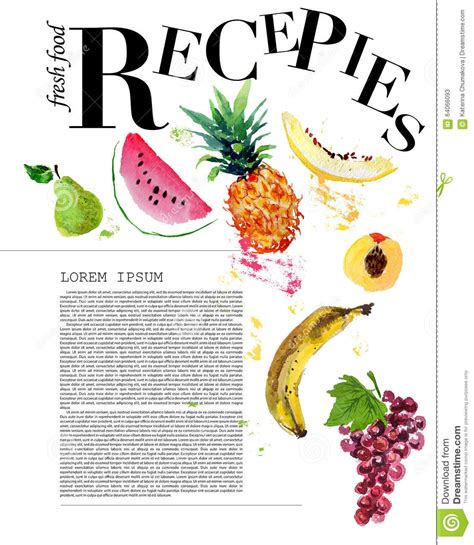 magazine layout design in illustrator template of magazine article recipe design stock