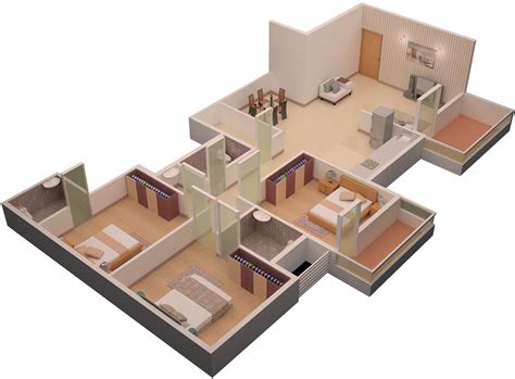 home design 3d 3 bhk 3bhk house plan 3d home design and style