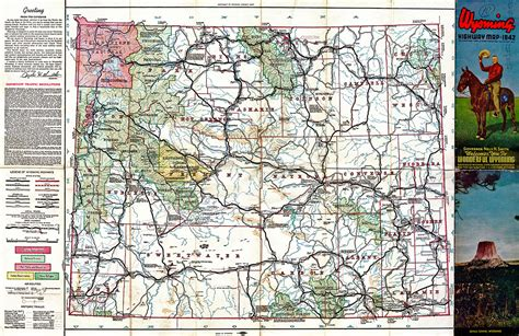 wyoming road map focus productions 187 archive 187 wyoming highways map 1942