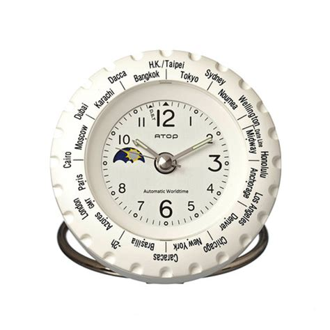atop world time alarm clock white atop clocks touch of modern