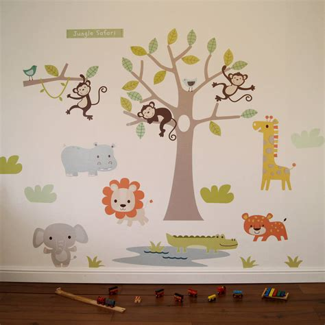pastel jungle safari wall stickers  parkins interiors