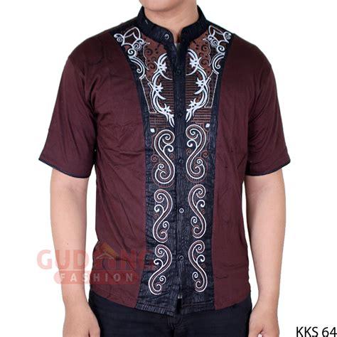 Baju Koko Sp 111 06 baju koko pria lengan pendek katun coklat tua kks 64
