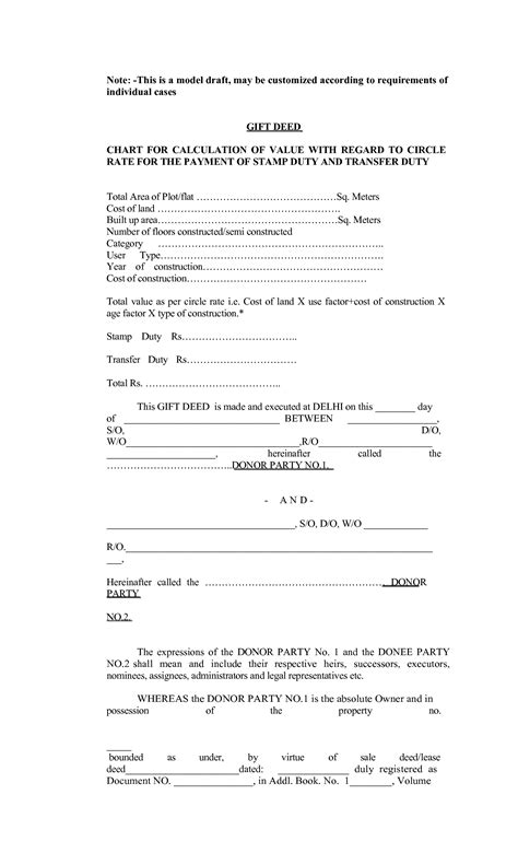 format of the gift deed best photos of blank gift deed form free printable quit