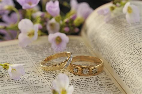 Wedding Bible Images by Wedding Rings Bible And Flowers Stock Image Image 26184591