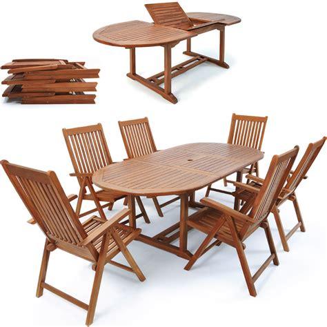 Wooden Garden Dining Chairs Wooden Garden Dining Table Set Quot Vanamo Quot 6 Reclining Chairs Fsc 174 Certified Eucalyptus Wood