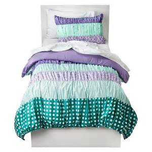 circo girls bedding circo 174 dots amp stripes ruched bed set purple