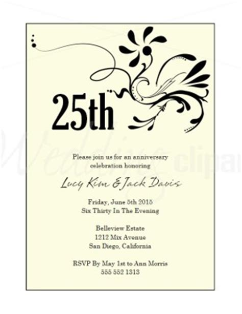 25th wedding anniversary invitations templates 25th wedding anniversary invitation wording archives the