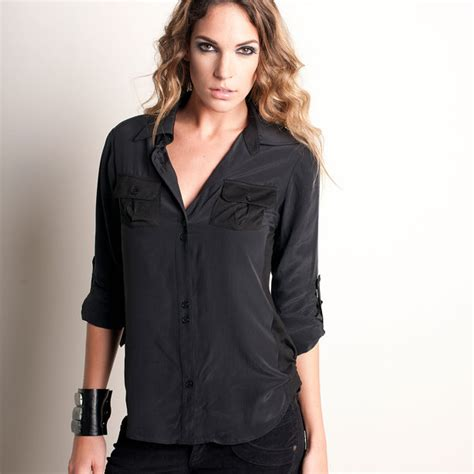 standard silk shirt black s fashion black