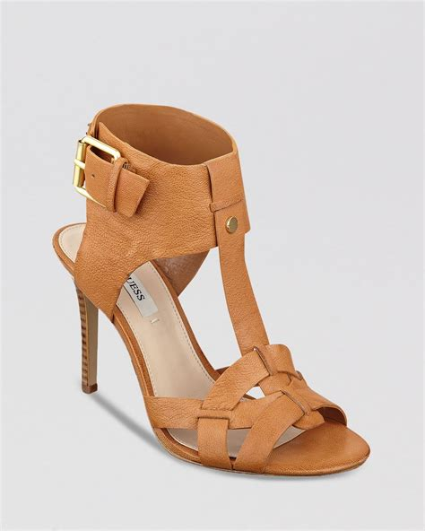 high heels guess guess open toe sandals hyanne high heel in brown cognac