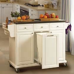 white kitchen cart with trash pull use for folding center island big lots you think