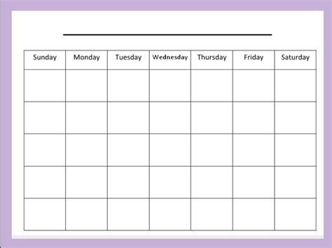 Monthly Template blank monthly calendar template