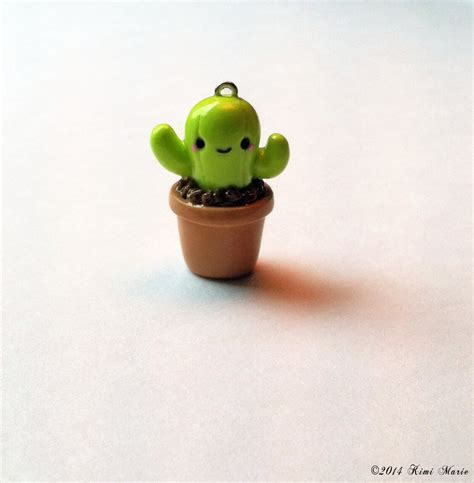 clay cactus charm potted cactus charm polymer clay charms