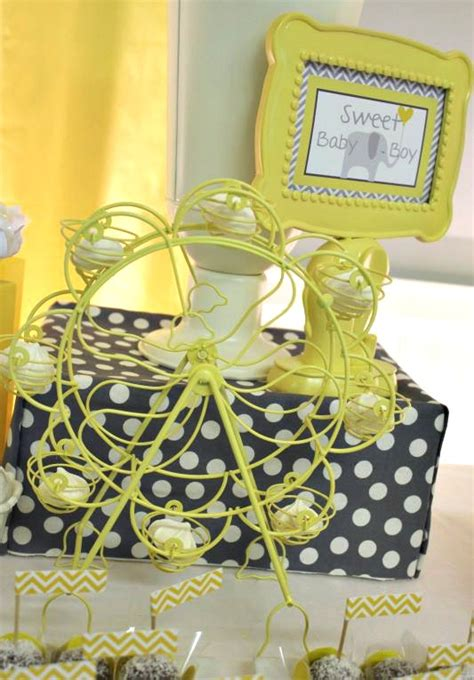 yellow decor yellow gray chevron baby shower ideas elephant theme