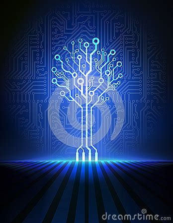 circuit board tree vector background royalty  stock
