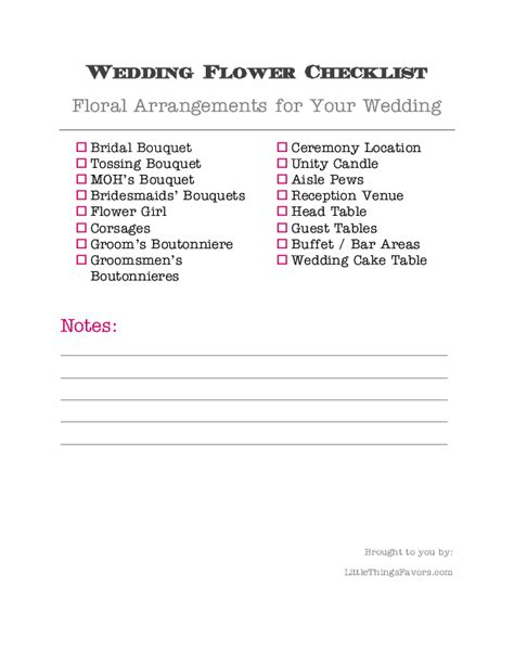 printable wedding flower checklist printable wedding flower checklist