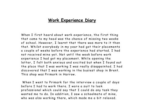 layout for work experience diary work experience diary gcse work experience reports