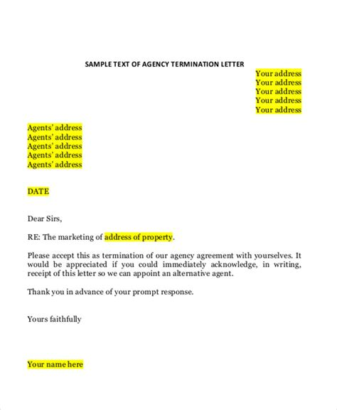 Termination Letter Format Security Agency termination letter format for security agency best
