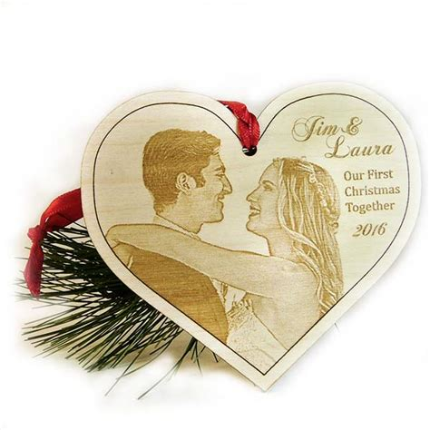our first christmas ornament laser engraved wood photo
