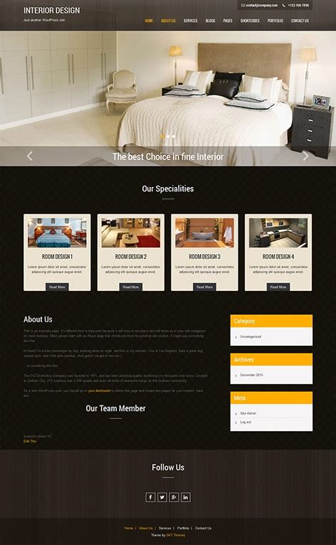wordpress themes interior design free interior wordpress theme for interior design websites