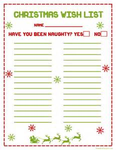 Wish List Template Free Printable by Printable Wish List